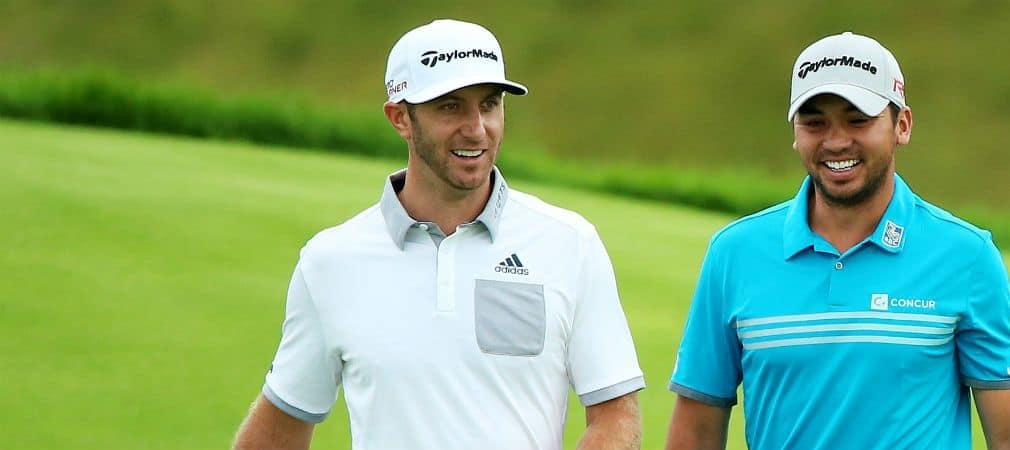 Noch lachen sie - bei der PGA Championship könnte es ernst werden zwischen den beiden. Dustin Johnson strebt nach Jason Days Spitzenposition. (Foto: Getty)