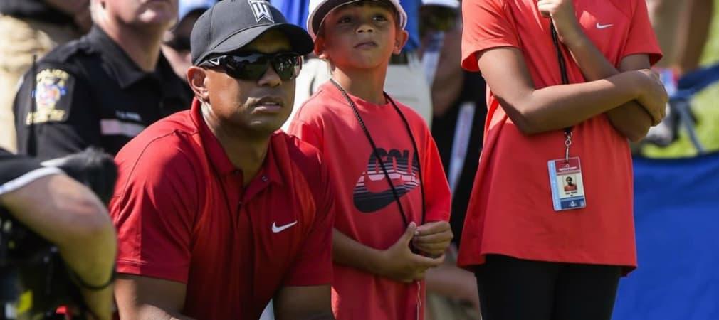 Tiger Woods mit seinen Kindern bei der Quicken Loans National. (Foto: Twitter/@PGATOUR)