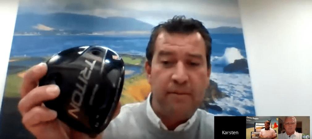 Karsten Klische zeigt im Golf Post Talk den neuen Wilson-Driver Staff Triton. (Foto: Getty)