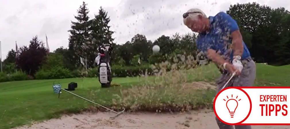 Von Zeit zu Zeit muss selbst Frank Adamowicz mal in den Sand. Zum Glück weiß er, wie er unbeschadet wieder hinauskommt. (Foto: Golf Post)