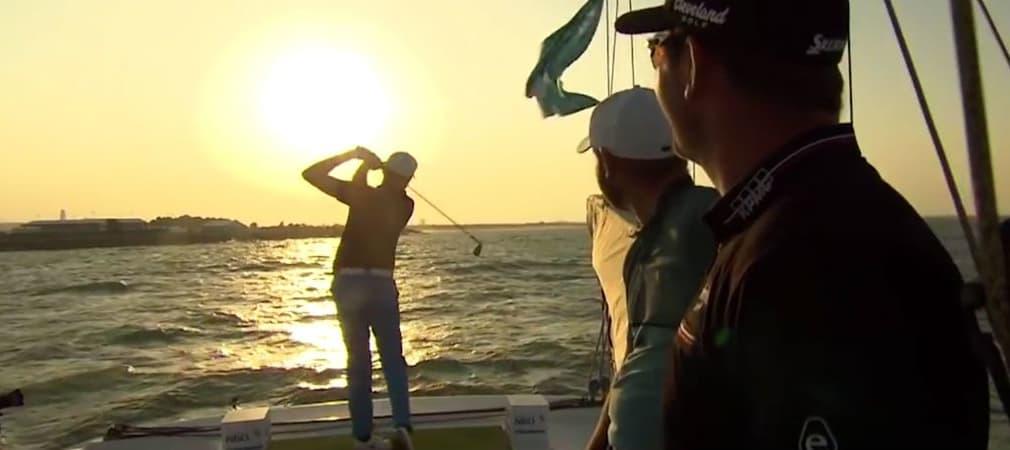 Sonne, Meer und Golf: Alexander Knappe genießt einen Bootsausflug mit seinen Challenge-Tour-Kollegen. (Foto: Screenshot)