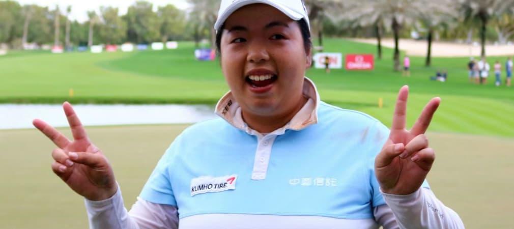 Shanshan Feng freut sich über ihren vierten Sieg beim Omega Dubai Ladies Masters. (Foto: Getty)