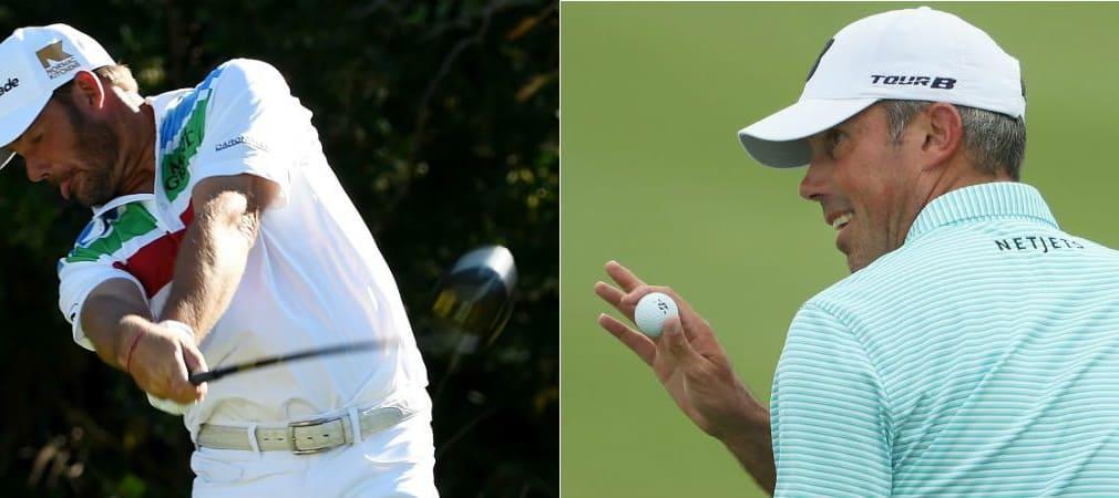 Matt Kuchar (re.) hat sich zum Auftakt der größten Golfparty des Jahres bei der Waste Management Phoenix Open die Führung gesichert. Alex Cejka mischt ebenfalls vorne mit. (Foto: Getty)