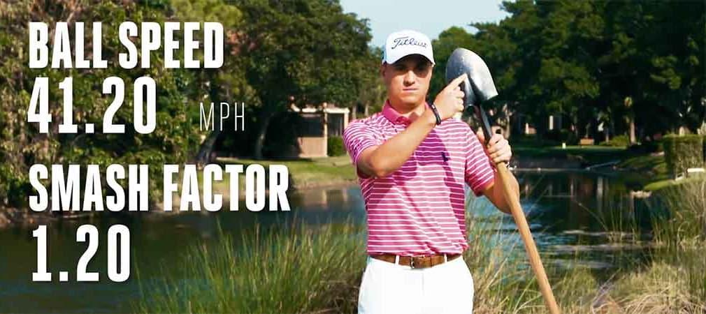Egal womit, Justin Thomas erreicht unglaubliche Ballgeschwindigkeiten. (Foto: Screenshot)