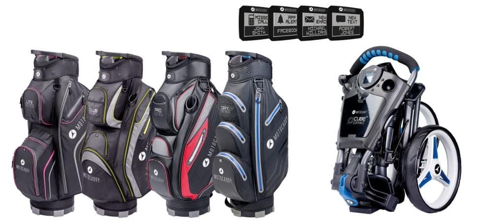 Vier neue Bags und den Push-Trolley 2.0 sollen den Markt kräftig aufwirbeln. (Foto: MotoCaddy)