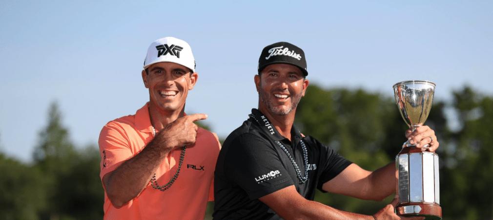 Gut gelaunt nach ihrem Sieg auf der PGA Tour: Billy Horschel und Scott Piercy. (Foto: Twitter/PGATOUR)