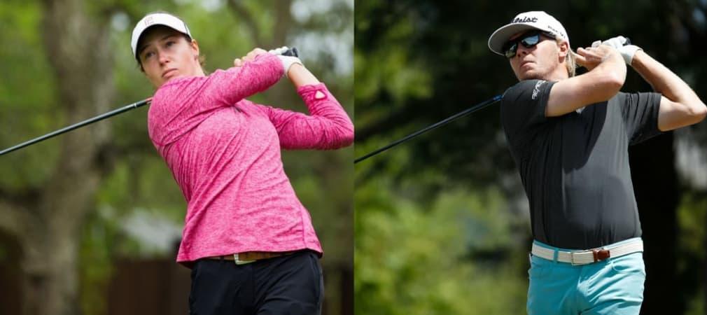 Zwei junge deutsche Golfer können am Wochenende überzeugen: Laura Fünfstück auf der Ladies European Tour und Max Rottluff auf der Web.com Tour. (Foto: Twitter/@LETgolf und Getty)