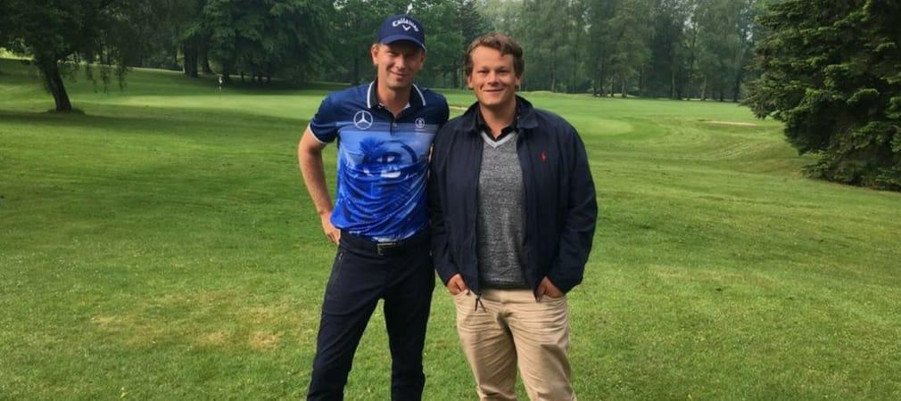 Golf Post Redakteur Robin Bulitz (re.) traf sich mit dem deutschen European-Tour-Profi Marcel Siem zum Interview im Düsseldorfer GC. (Foto: Golf Post)