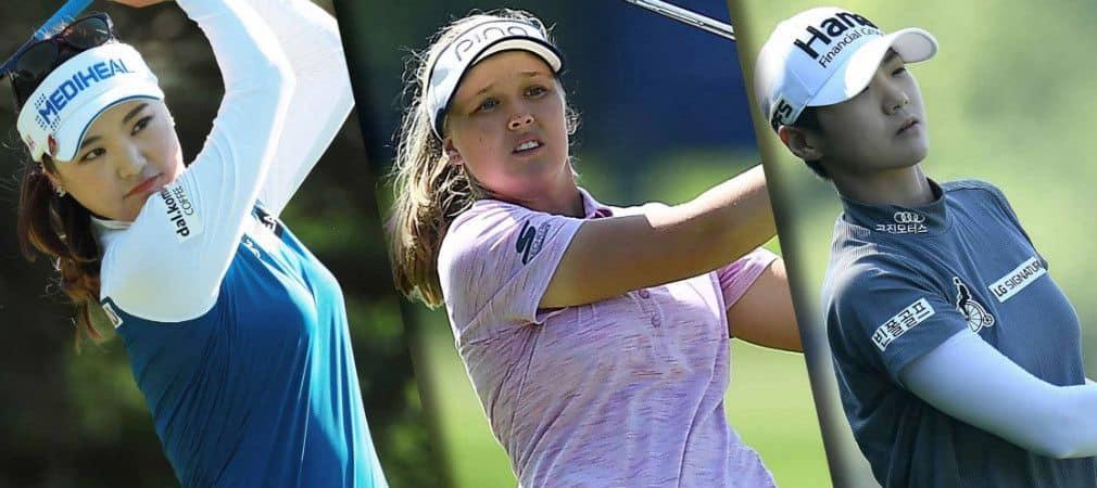 Die drei Führenden nach Runde 2 der KPMG Women's PGA Championship auf der LPGA Tour: So Yeon Ryu, Brooke M. Henderson und Sung Hyun Park. (Foto: Twitter/@LPGA)