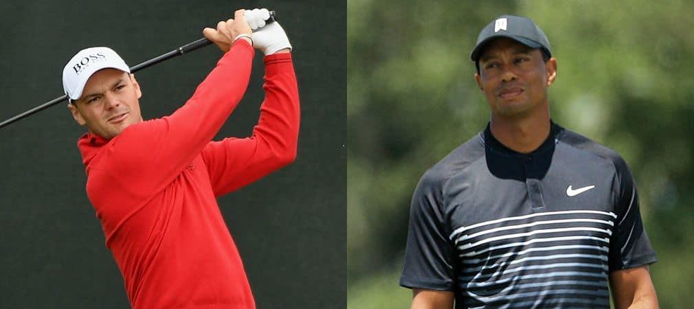 Tiger Woods (r) und Martin Kaymer bleiben bei der US Open 2018 hinter den Erwartungen zurück. (Foto: Getty)