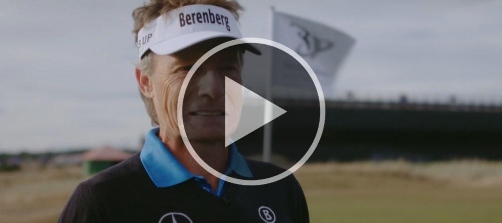Bernhard Langer stellt sich schwierigen Fragen zum Thema 9-Loch-Golf. (Screenshot: Mercedes Benz)