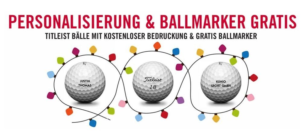 Zum Vorweihnachtszeit bietet Titleist Ihnen wieder personalisierte Bälle und einen Gratis-Ballmarker on top. (Foto: Titleist)