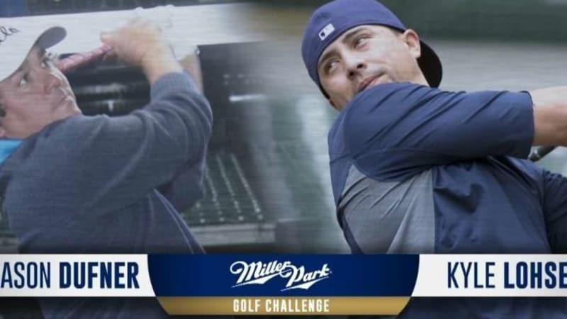 Jason Dufner duelliert sich golfend mit Pitcher Kyle Lohse.