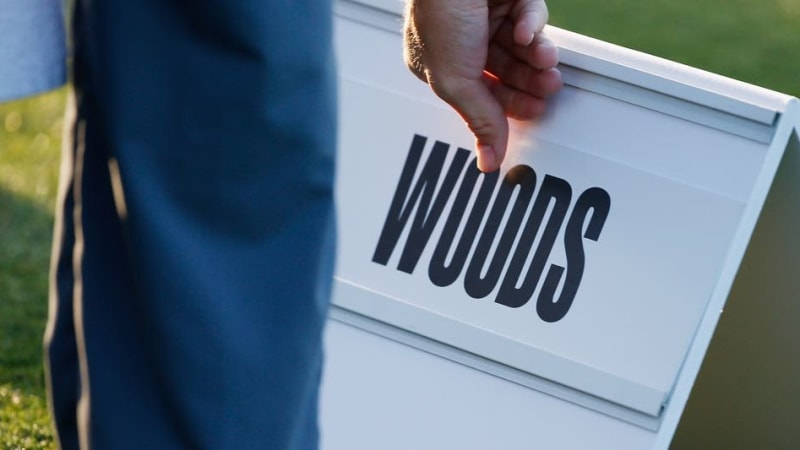 Tiger Woods Schild bei der Hero World Challenge