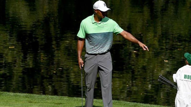 Tiger Woods mit einem seiner Kinder beim Par-3 Wettkampf in Augusta.