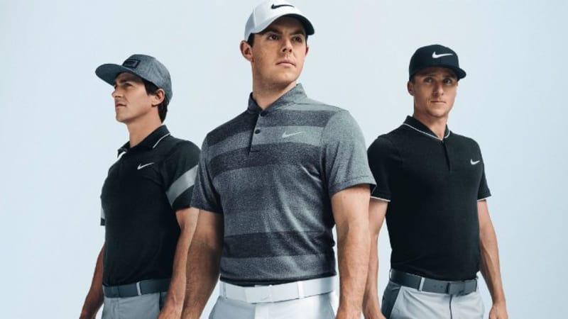 Rory McIlroy, Thorbjörn Olesen und Scott Pinckney präsentieren die Modeneuheiten von Nike. (Foto: Nike)
