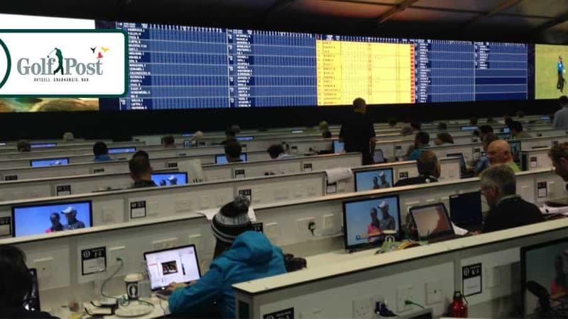 Blick ins Pressezelt der British Open in Royal Troon.