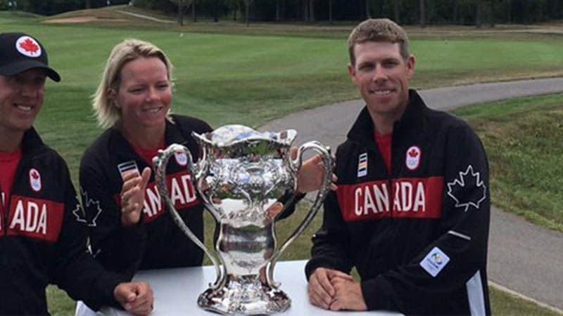 Graham DeLaet, Alena Sharp, David Hearn (v.l.) und Brooke Henderson haben bei den Olympischen Spielen die Chance auf die Titelverteidigung im olympischen Golf. (Foto: twitter.com/PGATOUR)