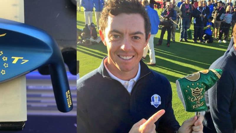 Die Equipment-Hersteller haben sich für den Ryder Cup wieder einiges einfallen lassen, um ihre Spieler medienwirksam auszustatten. (Foto: twitter.com/Chris3Wood / twitter.com/IanJamesPoulter)