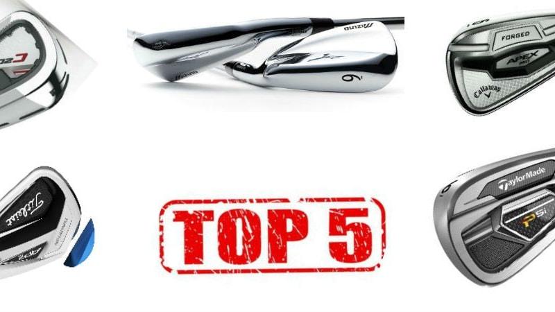 Diese fünf Eisen haben es in die Golf Post Top 5 der besten Eisensätze 2016 geschafft. (Foto: Titleist/TaylorMade/Wilson/Mizuno/Callaway)