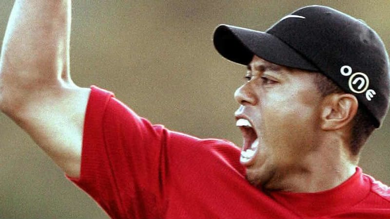 Tiger Woods jubelt beim Masters Tournament 2005. (Foto: Getty)