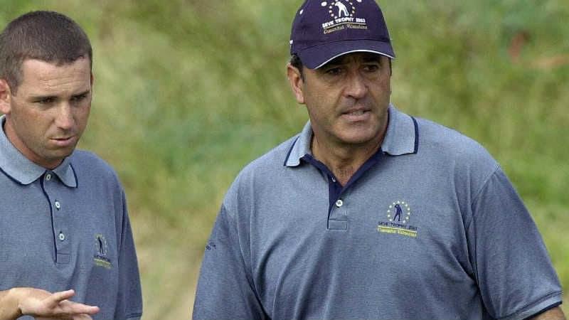 Sergio Garcia (l.) kann am 60. Geburtstag von Legende Seve Ballesteros sein erstes Major beim US MAsters Tournament gewinnen.