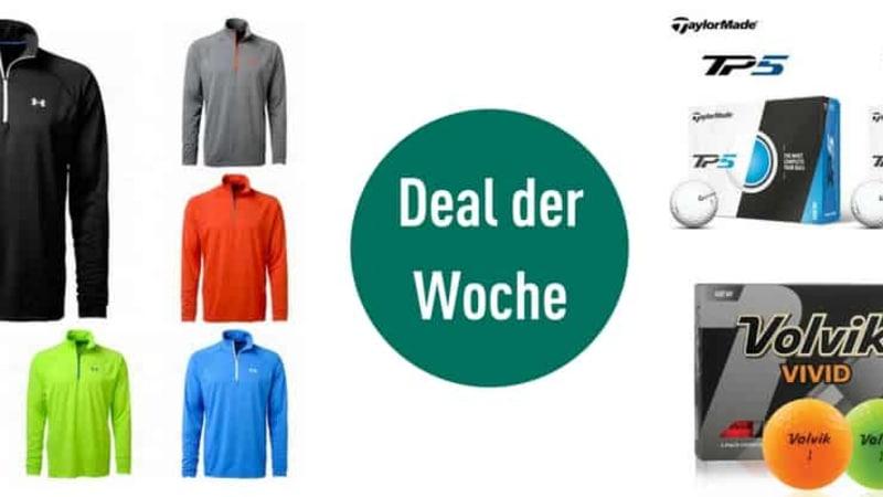 Sichern Sie sich im Deal der Woche Golfkleidung für kalte Tage und neue Golfbälle. (Foto: Under Armour/Volvik/TaylorMade)
