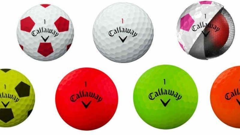 Die komplette Farbpalette bietet Callaway mit den neuen Chrome Soft Golfbällen und dem Superhot Bold Golfball. (Foto : Callaway)