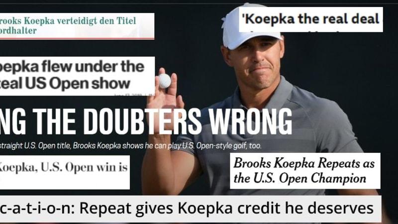Brooks Koepka wird von der Presse für seinen Sieg bei der US Open 2018 geehrt. (Foto: Screenshots)