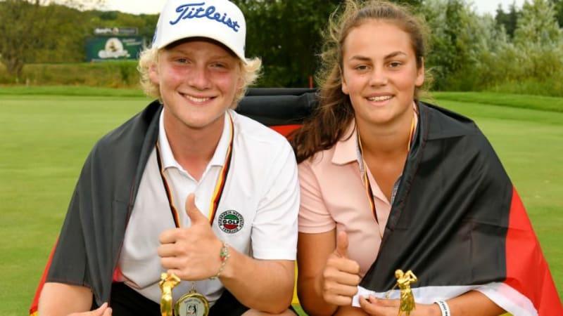 Die Sieger Olivia Bergner vom GC St. Leon-Rot und Ben Marckmann vom GC Mannheim-Viernheim (Foto: Frank Föhlinger | golfmomente.de)