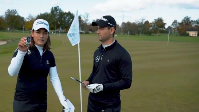 Karolin Lampert und Moritz Lampert verlosen die Jahrespreise für den Mercedes-Benz After Work Golf Cup. (Foto: Facebook.com/@MBAWGC)