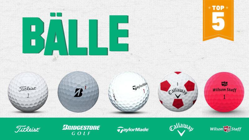 Unser Top 5 der Golfbälle des Jahres im Überblick. (Foto: Callaway/Bridgestone/Titleist/TaylorMade/Wilson)