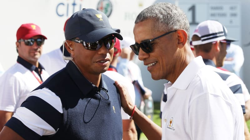 Tiger Woods und Barack Obama beim Presidents Cup im Gespräch. (Foto: Getty)