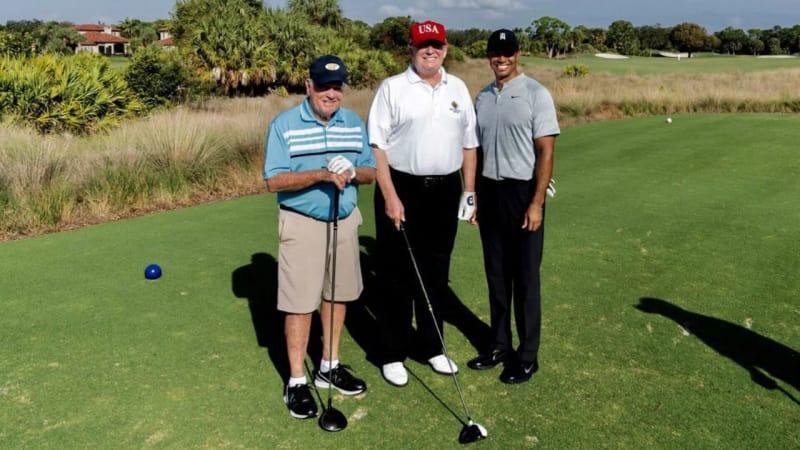 Donald Trump mit Tiger Woods und Jack Nicklaus am Abschlag. (Foto: Twitter.com/@realDonaldTrump)