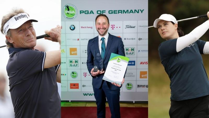 Bernhard Langer (links), Christian Lanfermann (Mitte) und Caroline Masson (rechts) wurden mit einem PGA Award ausgezeichnet. (Foto: PGA of Germany Pressemittelung)