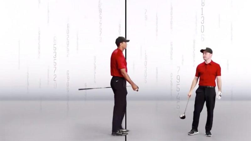 Tiger Woods und Conor Moore im neuen Werbespot. (Foto: Twitter/@TigerWoods)