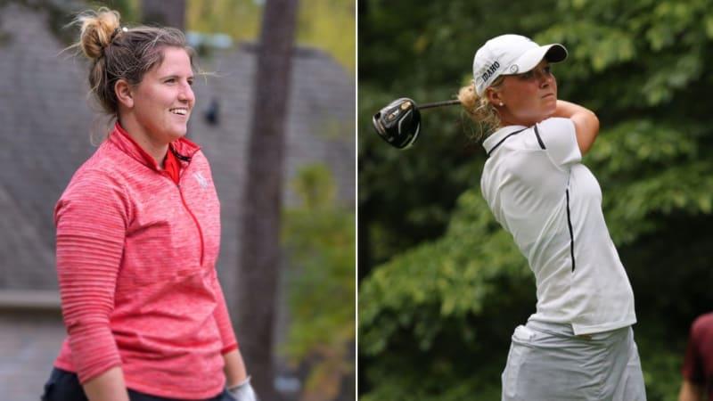 Leonie Harm und Sophie Hausmann treten bei der Augusta National Women's Amateur als zwei von 72 Spielerinnen an. (Foto: Instagram/@leoharm und Twitter/@BigSkyConf)