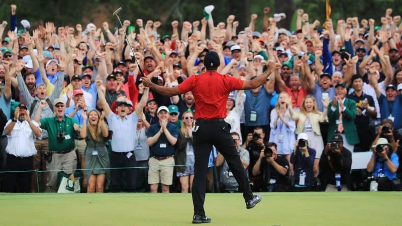Tiger Woods jubelt über den Sieg beim US Masters 2019. (Foto: Getty)