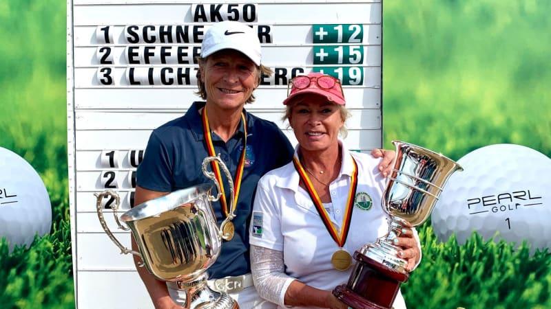 Sicherten sich die beiden Titel bei der Deutschen Meisterschaft der Damen in der Altersklasse 50, Britta Schneider (links im Bild) und in der Altersklasse 65, Chris Utermarck. (Foto: DGV/Langer Sport Marketing)