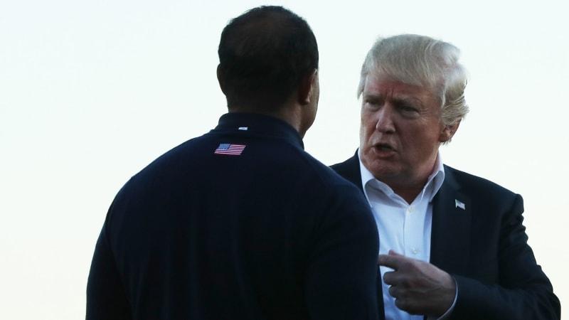 Tiger Woods und Donald Trump kennen sich bestens und spielten bereits Golf zusammen. (Foto: Getty)