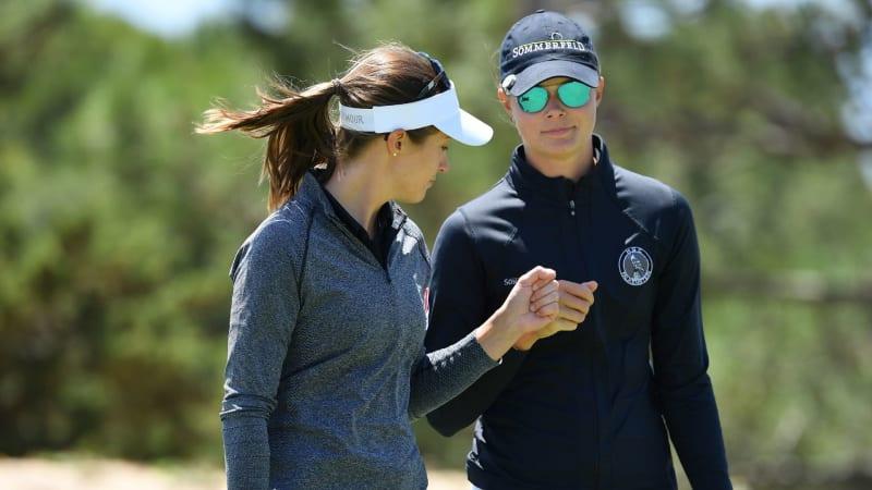 Esther Henseleit und Laura Fünfstück verpassen das Viertelfinale der GolfSixes auf der European Tour. (Foto: Getty)