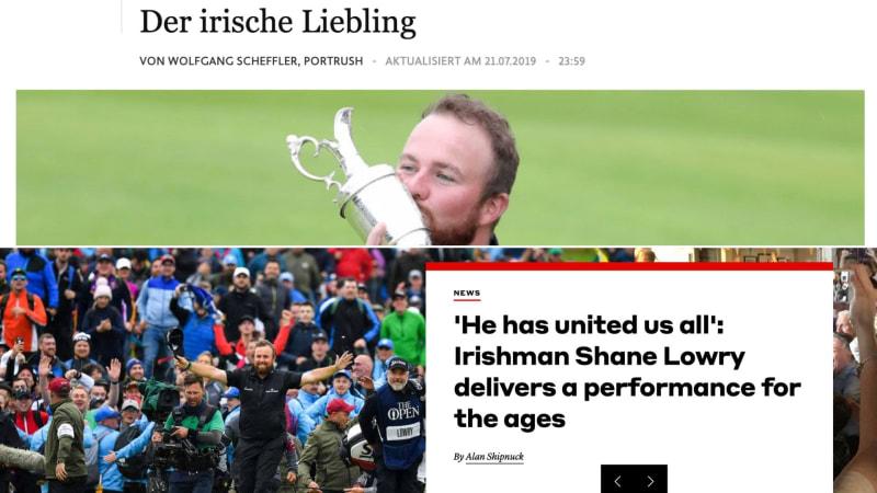 Die Presseschau zur British Open 2019. (Fotos: faz.net und golf.com)