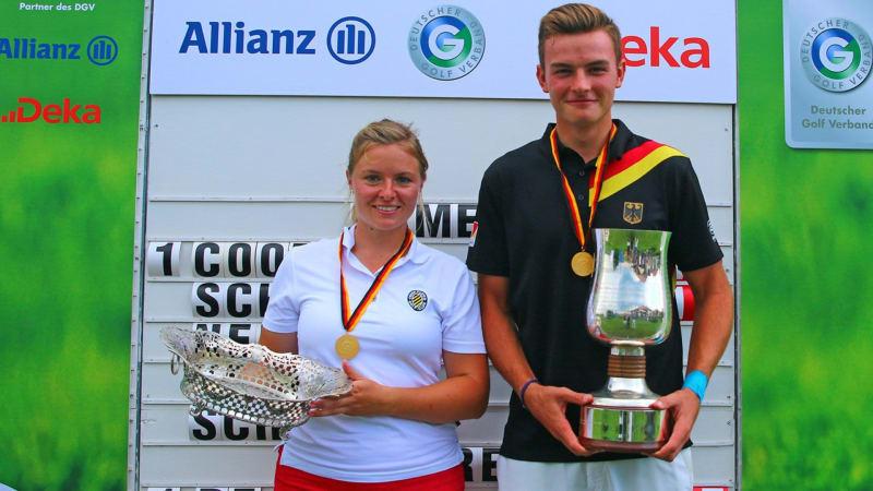 Marie Coors (Frankfurter GC) und Jannik de Bruyn (GC Hösel) sind die neuen Deutschen Meister der Damen und Herren. (Foto: DGV/stebl)