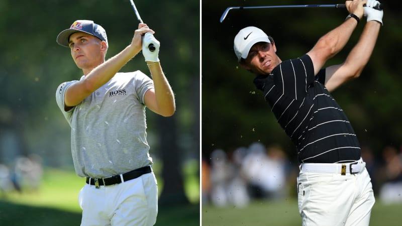 Links: Der bisher beste deutschsprachige Spieler beim Omega European Masters 2019, Matthias Schwab. Rechts: FedExCup-Sieger Rory McIlroy. (Foto: Getty)