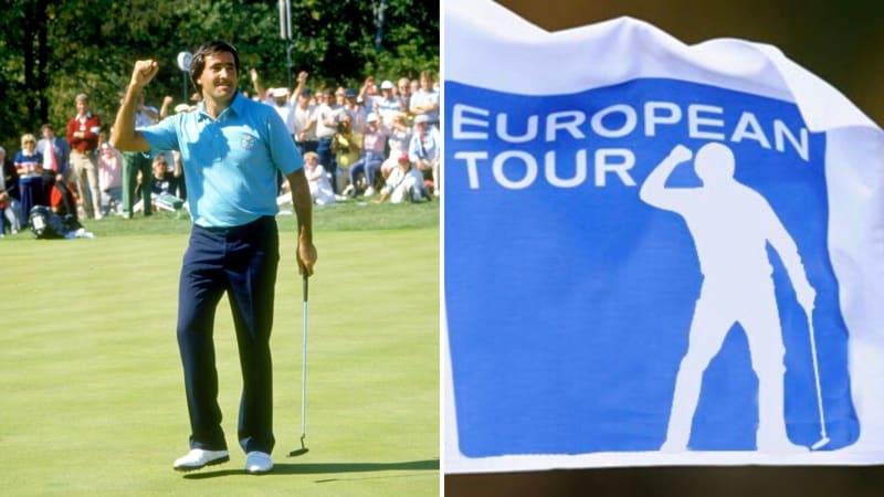 Links: Seve Ballesteros beim Ryder Cup 1987, rechts: ein ihm nachempfundenes Logo: (Foto: Getty und Twitter/@J_Ballesteros)