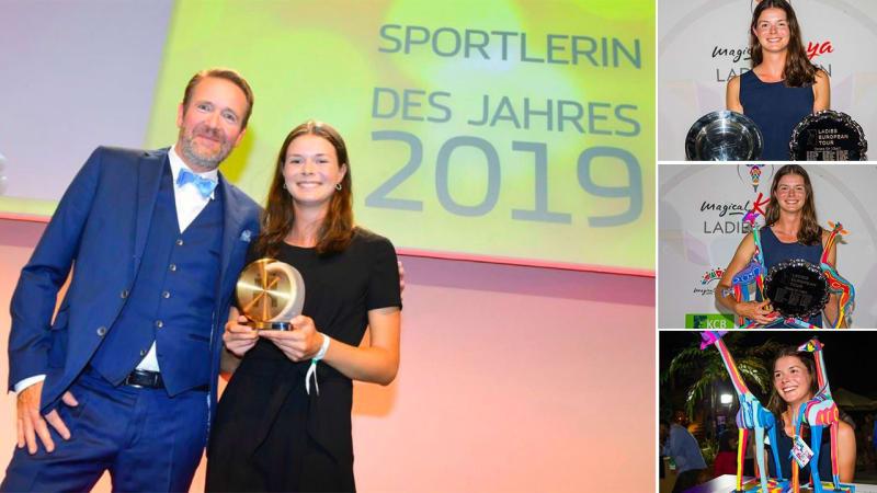 Esther Henseleit ist Hamburgs Sportlerin des Jahres. (Fotos: Twitter/@HamburgerSport (links); Instagram/LadiesEuropeanTour (alle rechte Seite))