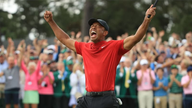 Tiger Woods rohe Emotion nach seinen finalen Putt beim US Masters 2019. (Foto: Getty)