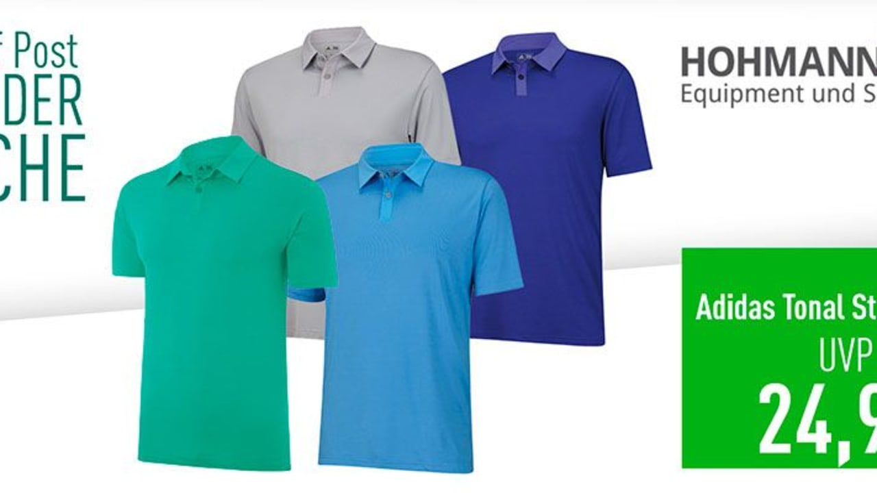 Diese Woche im Angebot bei Hohmann Golf: Das Adidas Tonal Stripe Poloshirt (Foto: Golf Post)