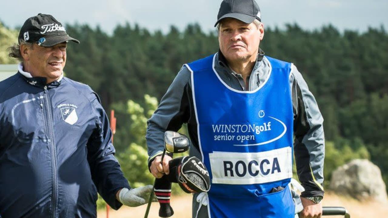 Michael Basche (r.) begleitete Signore Costantino Rocca beim Pro-Am der WINSTONgolf Senior Open als Caddie.
