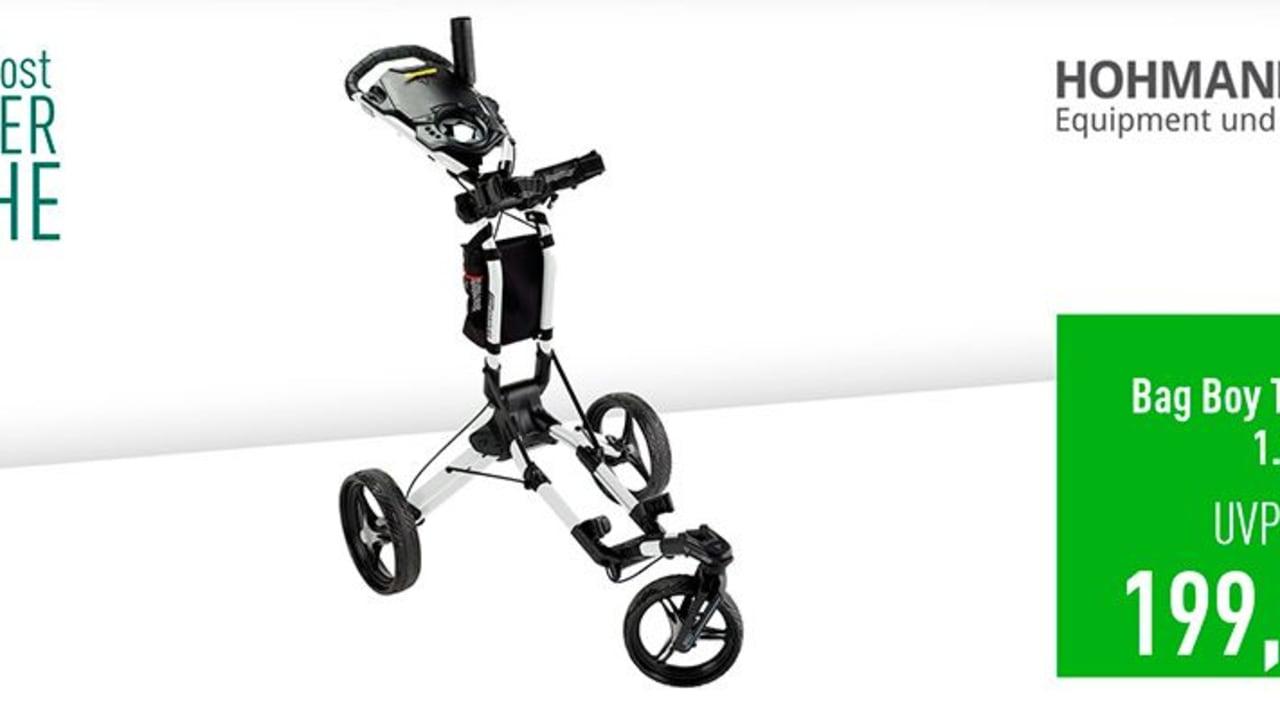 Bag Boy Tri Swivel 1.0 Trolley inklusive Schirmhalter im Deal der Woche. (Foto: Golf Post)